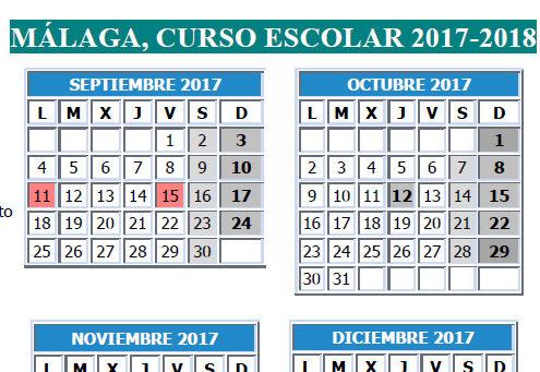 Caledario Escolar 2017/2018