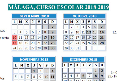Captura calendario escolar 2018/2019